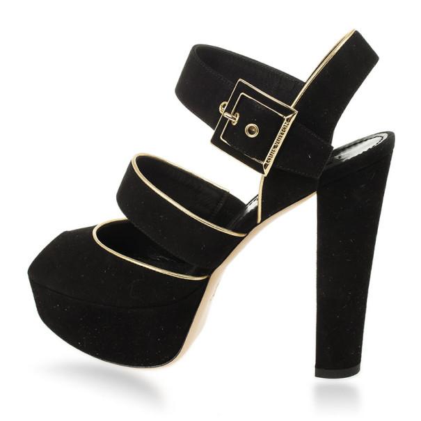 Louis Vuitton Black Suede Mowani Platform Sandals Size 37.5