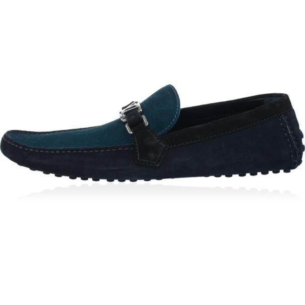 Louis Vuitton Tri Color Suede Hockenheim Loafers Size 44