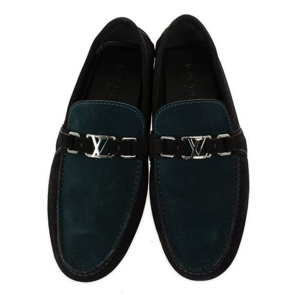 Louis Vuitton Two Tone Suede Hockenheim Loafers Size 43