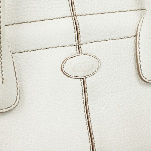 Tod's White Leather Small Tote