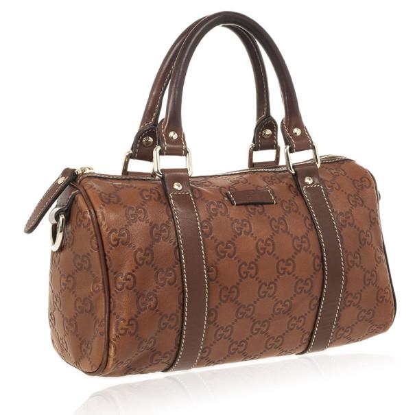 Gucci Guccissima Cognac Brown Leather Speedy 'Joy' Boston Satchel