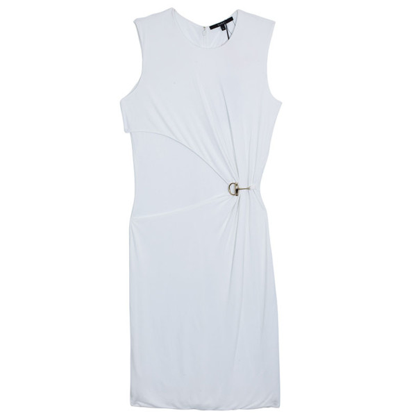 Gucci White Gathered Crewneck Dress L