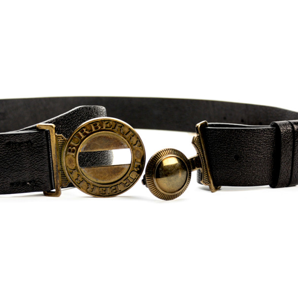 Burberry Black Grainy Leather Round Clasp Buckle Belt 92.5 CM