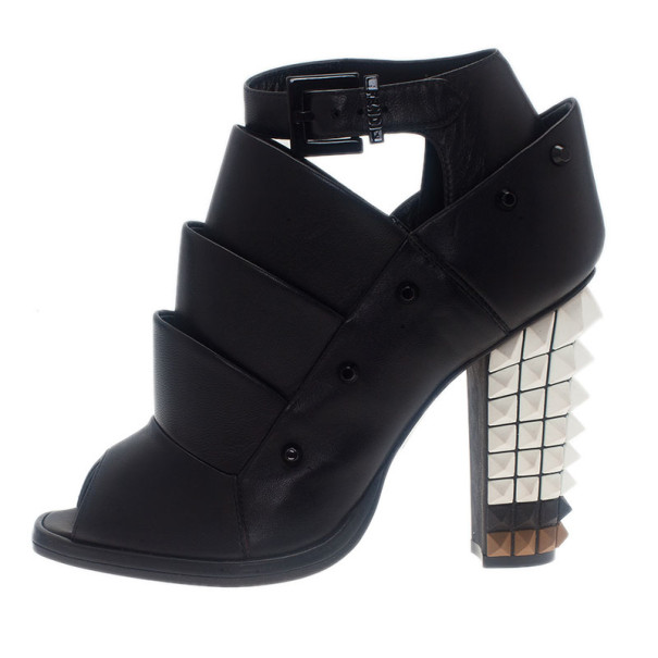 fendi black leather spiked heel ankle boots size 36 buy