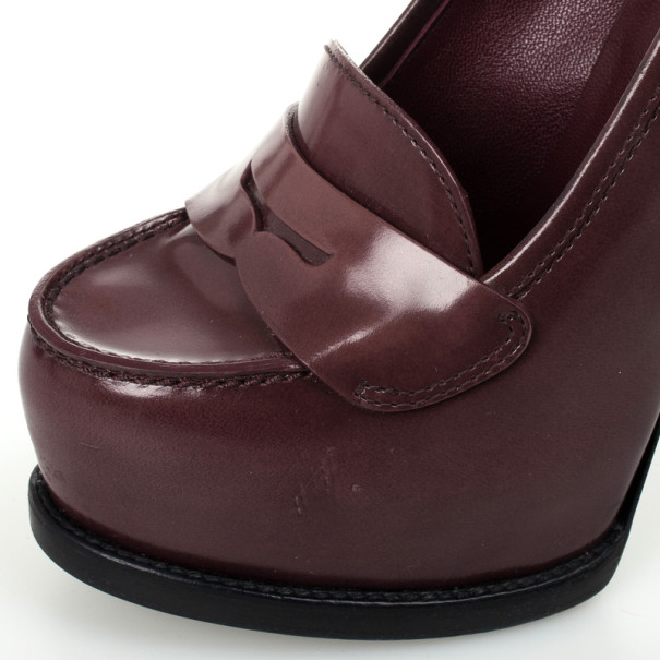 Yves Saint Laurent Burgundy Leather Tribtoo Penny Loafer Platform Pumps Size 36.5