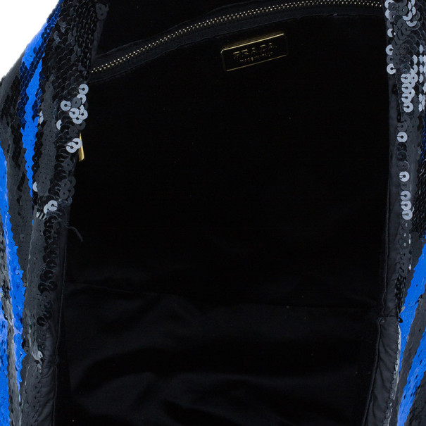 Prada Blue and Black Sequin Tote
