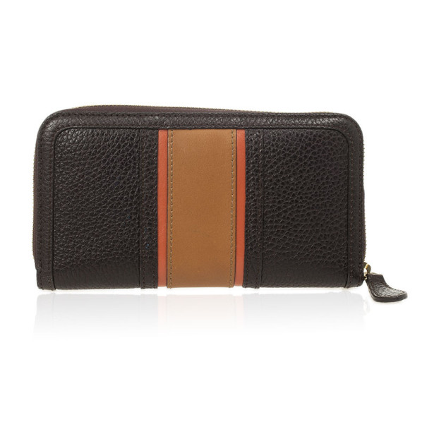 Burberry Black and Brown Stripe Zip Around Wallet
