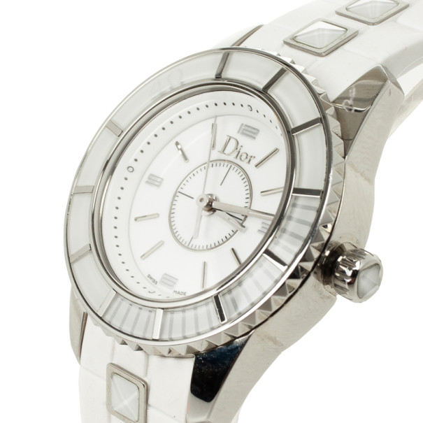 Christian Dior Christal SS Ceramic White Womens Wristwatch 28 MM
