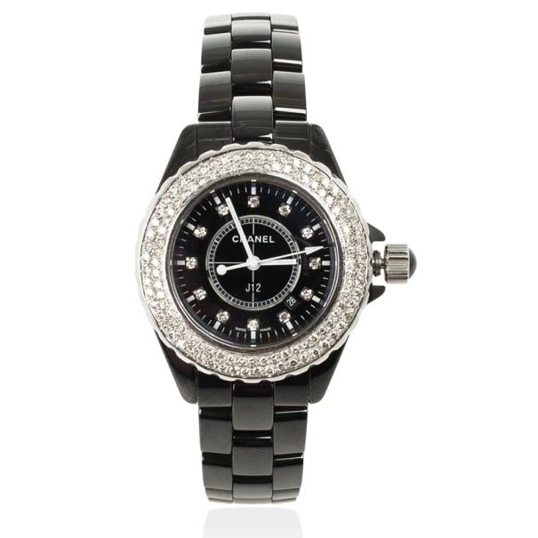 Chanel J 12 SS Ceramic Diamond Bezel Womens Wristwatch 33 MM