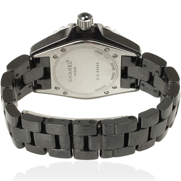 Chanel J 12 SS Ceramic Diamond Bezel Womens Wristwatch 33 MM