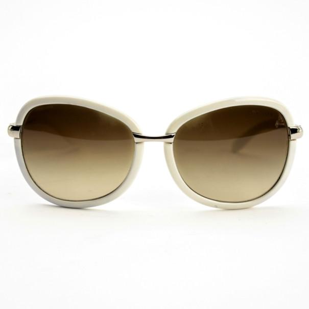 Prada Cream Round Woman Sunglasses