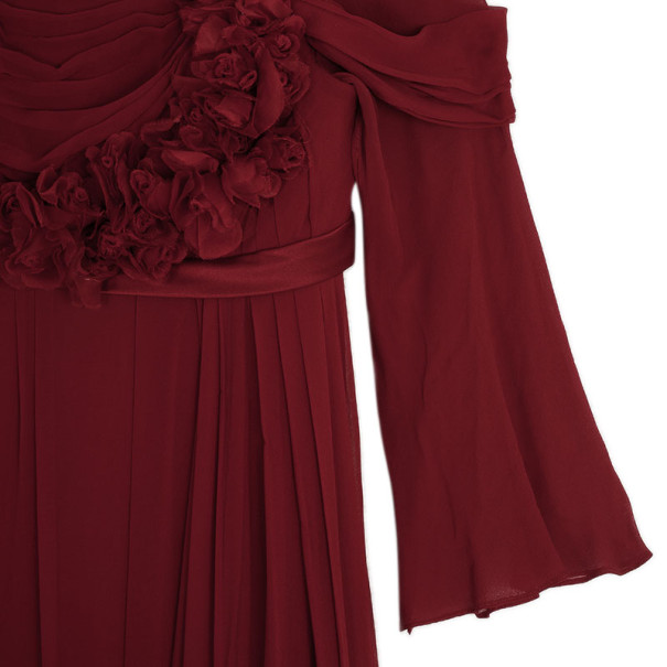 Marchesa Cherry Red Ruffle Gown S