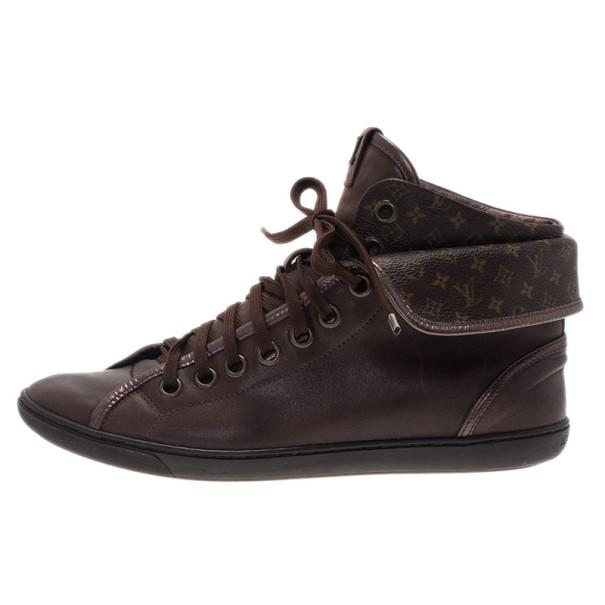 Louis Vuitton Brown Monogram Canvas & Leather Brea Sneaker Boots Size 39