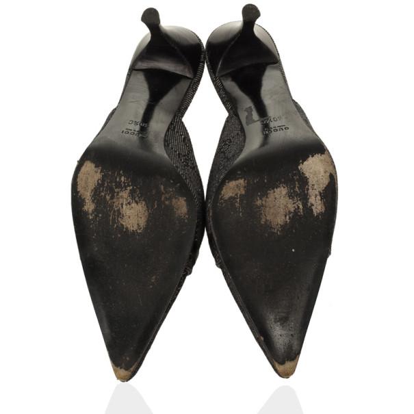 Gucci Black GG Denim Mules Size 40.5