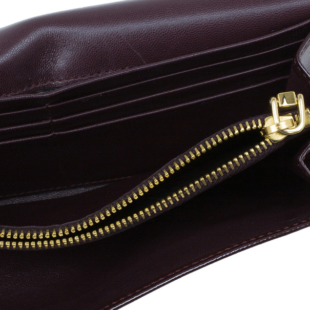 Prada Burgundy Patent Saffiano Leather Long Flap Wallet
