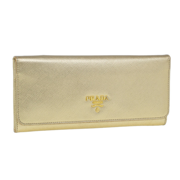 Prada Gold Saffiano Leather Long Flap Wallet