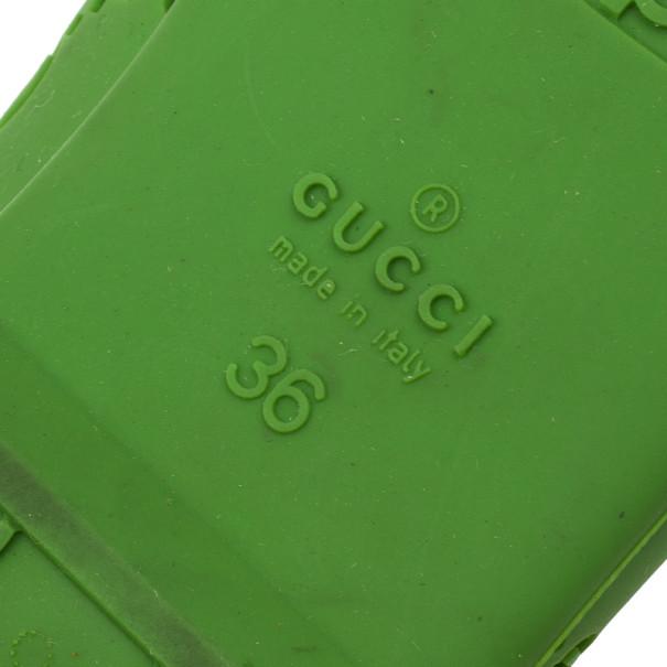 Gucci Green 'GG' Rubber Ballet Flats Size 36