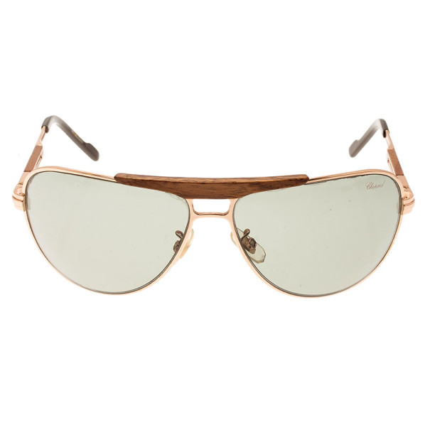 Chopard Brown SCH 652 Wooden Unisex Aviators