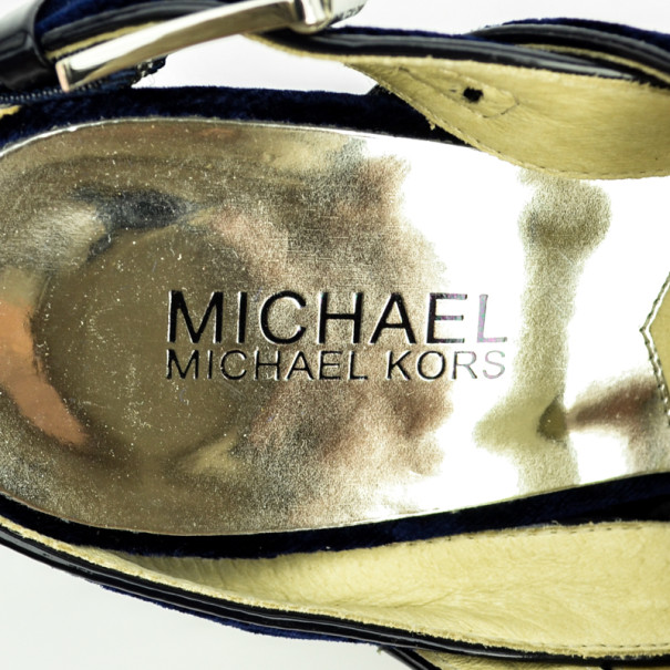 MICHAEL Michael Kors Blue Velvet Faye Platform Sandals Size 38.5