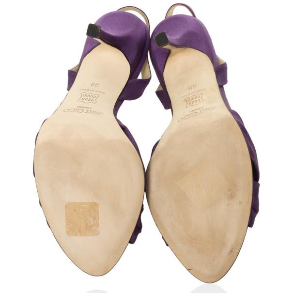 Jimmy Choo Purple Satin Slingback Sandals Size 38