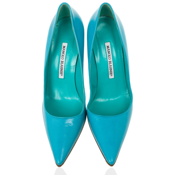 Manolo Blahnik Blue 'BB' Pointy Toe Pumps Size 37.5