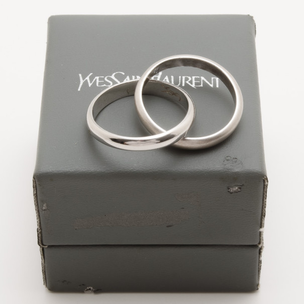 YSL Shiny and Matte Silver Double Band Ring Size 60