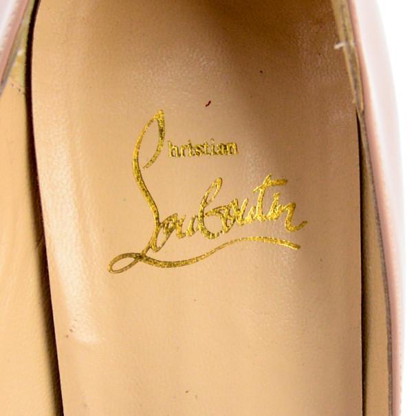 Christian Louboutin Nude Patent 'Lady Peep' Toe 150mm Platform Pumps Size 39