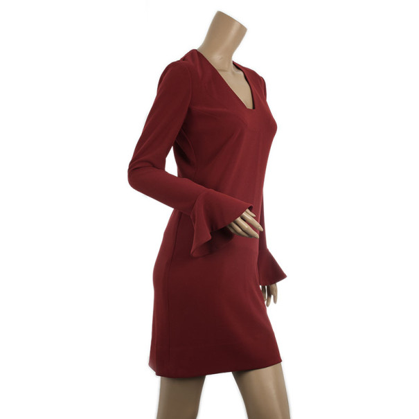 Diane Von Furstenburg Red Hazina V-neck Long Sleeve Dress M