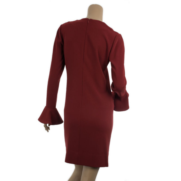 Diane Von Furstenburg Red Hazina V-neck Long Sleeve Dress M