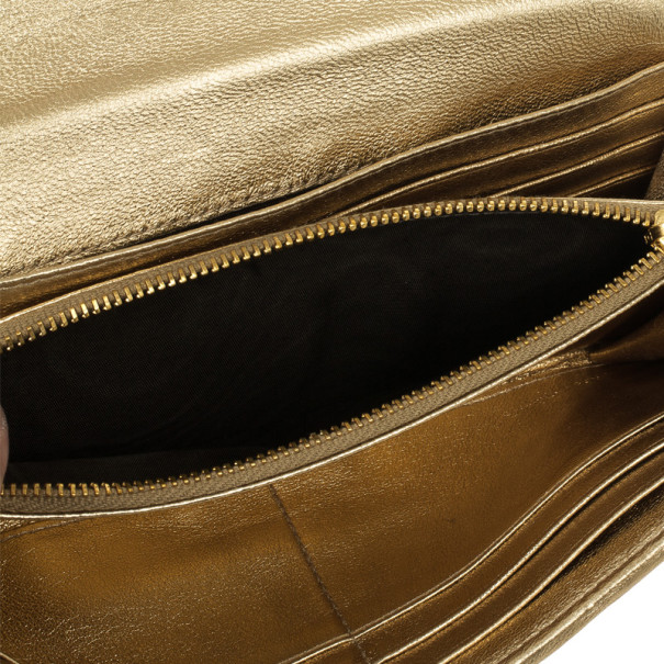 Miu Miu Gold Matelasse Leather Wallet