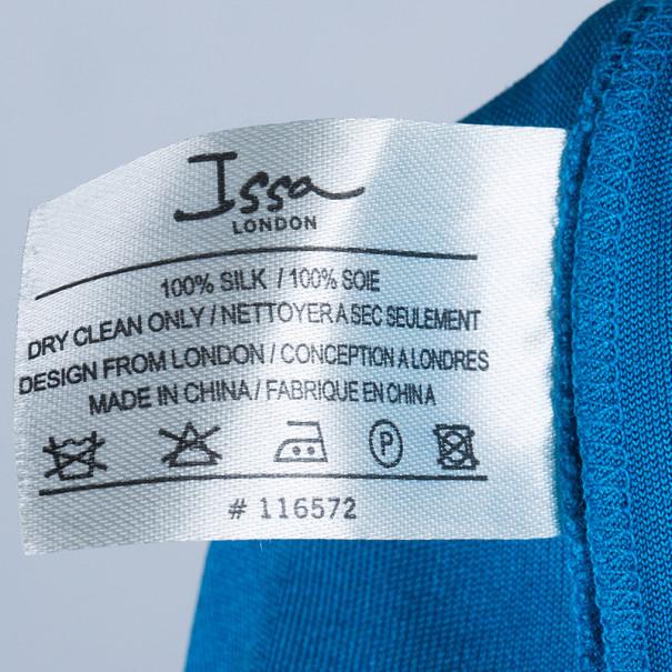 Issa Blue Silk Jersey Draped Maxi Dress S