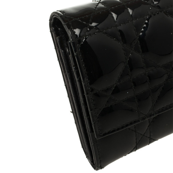 Christian Dior Black Quilted Patent Logo Charm Wallet