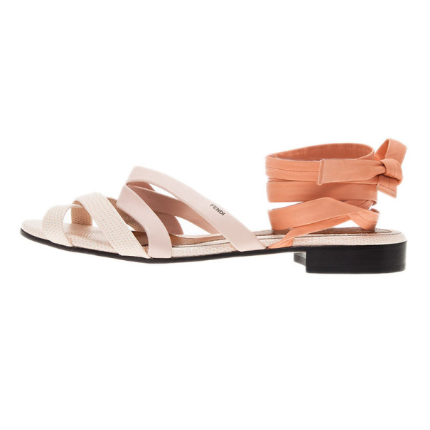 Fendi Cream Leather Lily Ankle Wrap Sandals Size 38.5