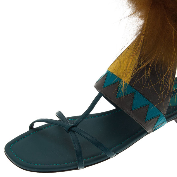 Fendi Blue Leather Fur Trim Bug Sandals Size 41