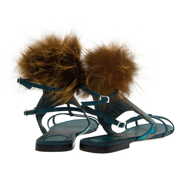 Fendi Blue Leather Fur Trim Bug Sandals Size 41