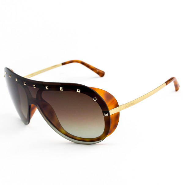 Valentino Studded Tortoise Frame V102s Woman Wrap Sunglasses