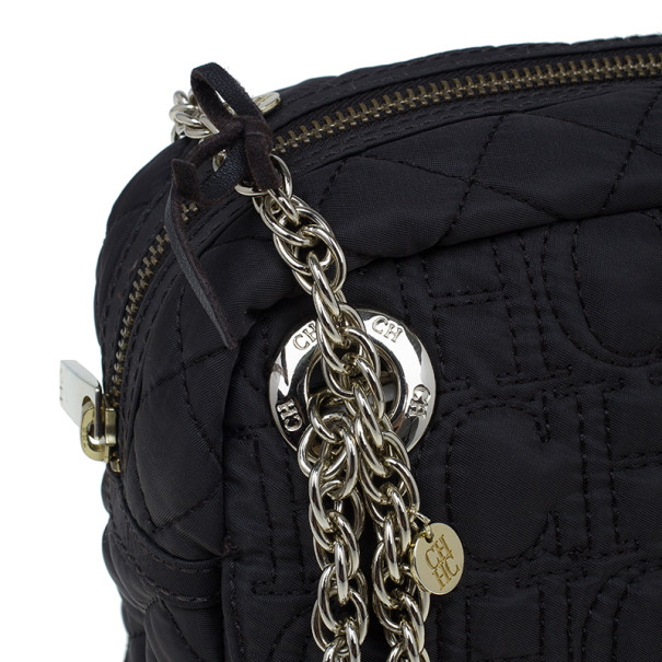 Carolina Herrera Brown Nylon Monogram Shoulder Bag