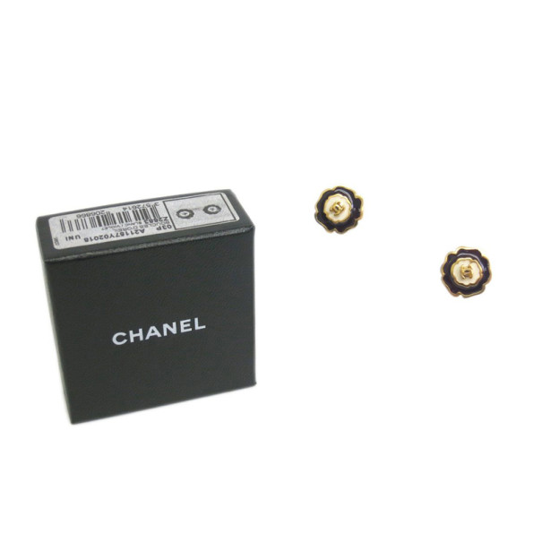 Chanel Camelia CoCo Black and White Pierce Earrings