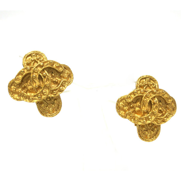 Chanel Vintage Engraved Gold Tone Earrings