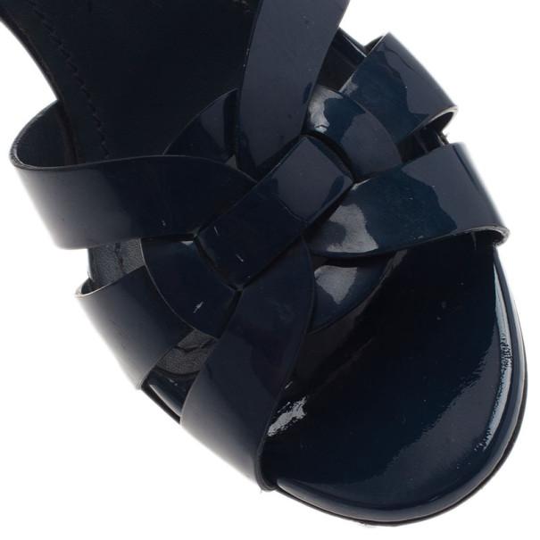 Saint Laurent Paris Blue Patent Tribute Platform Sandals Size 38