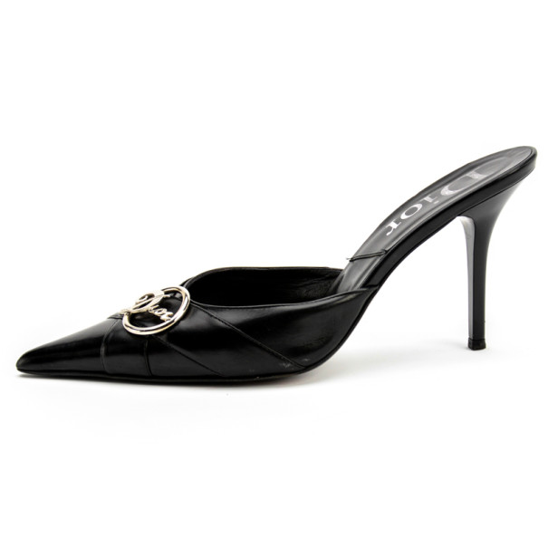Christian Dior Black Pointed Toe 'Diva' Mules Size 39