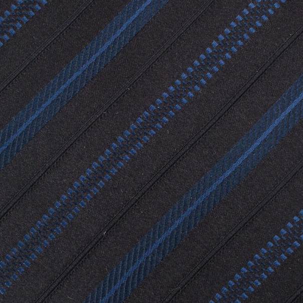 Giorgio Armani Black & Blue Striped Silk Tie