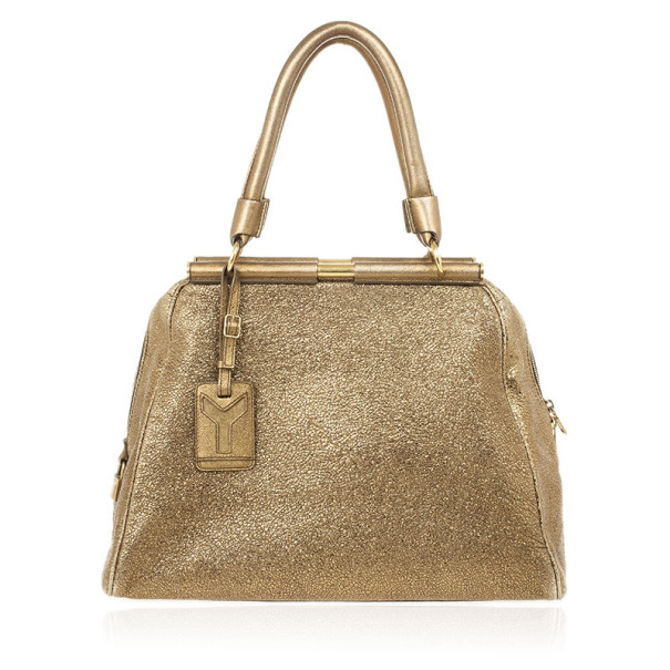 Yves Saint Laurent Metallic Gold Leather Rive Gauche Majorelle Bag