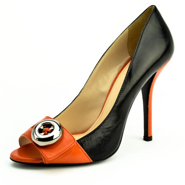 Prada Orange Two-Tone Leather Peep Toe Button Pumps Size 38
