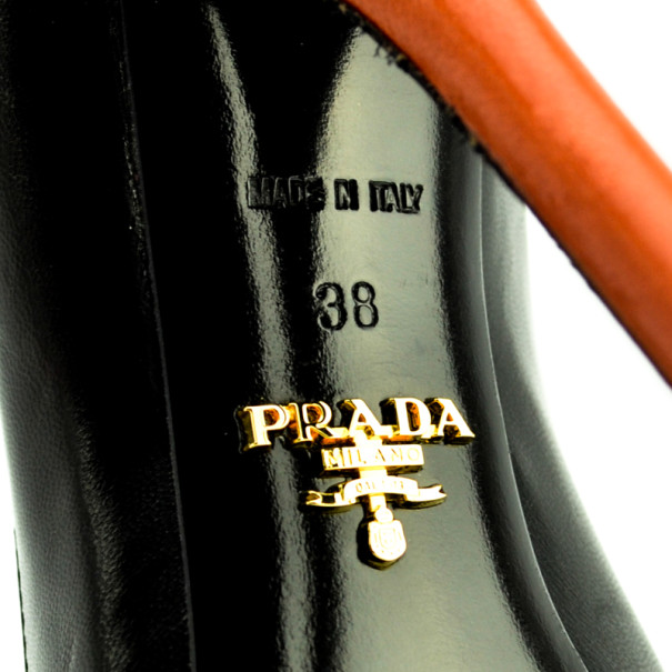 Prada Orange Two-Tone Leather Peep Toe Button Pumps Size 38