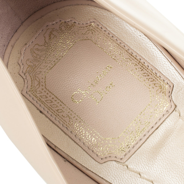 Christian Dior Rose Pink Patent Leather 'Miss Dior' Peep Toe Platform Pumps Size 37