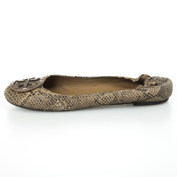 Tory Burch Python Embossed Reva Ballet Flats Size 39.5