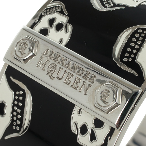 Alexander McQueen Skull-Print Enamel Bangle 20 CM