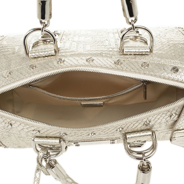 Versace Silver Quilted 'Snap Out Of It' Satchel
