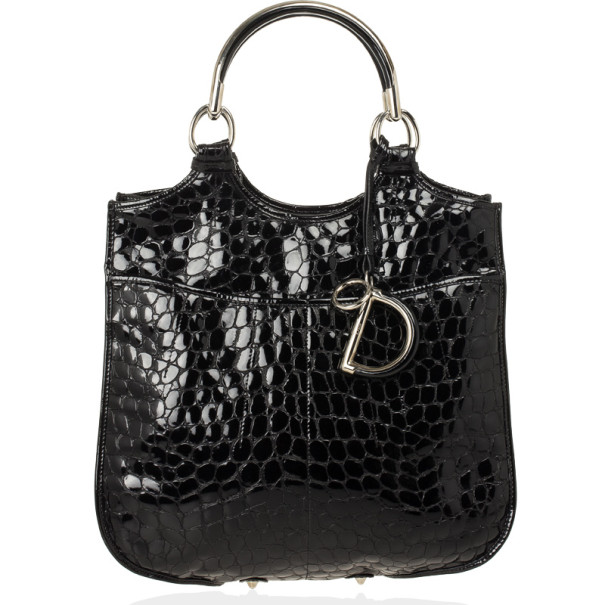 Christian Dior Black Croc Embossed Patent Leather 61 Tote Bag
